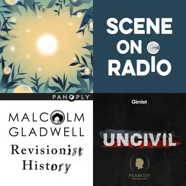 Four podcast album covers