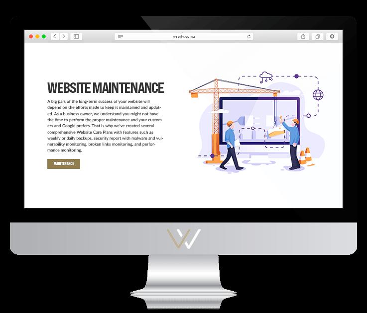 Computer desktop displaying website maintenance