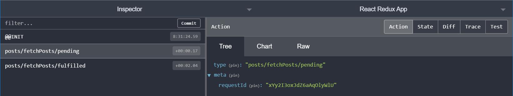 `createAsyncThunk`: posts pending action