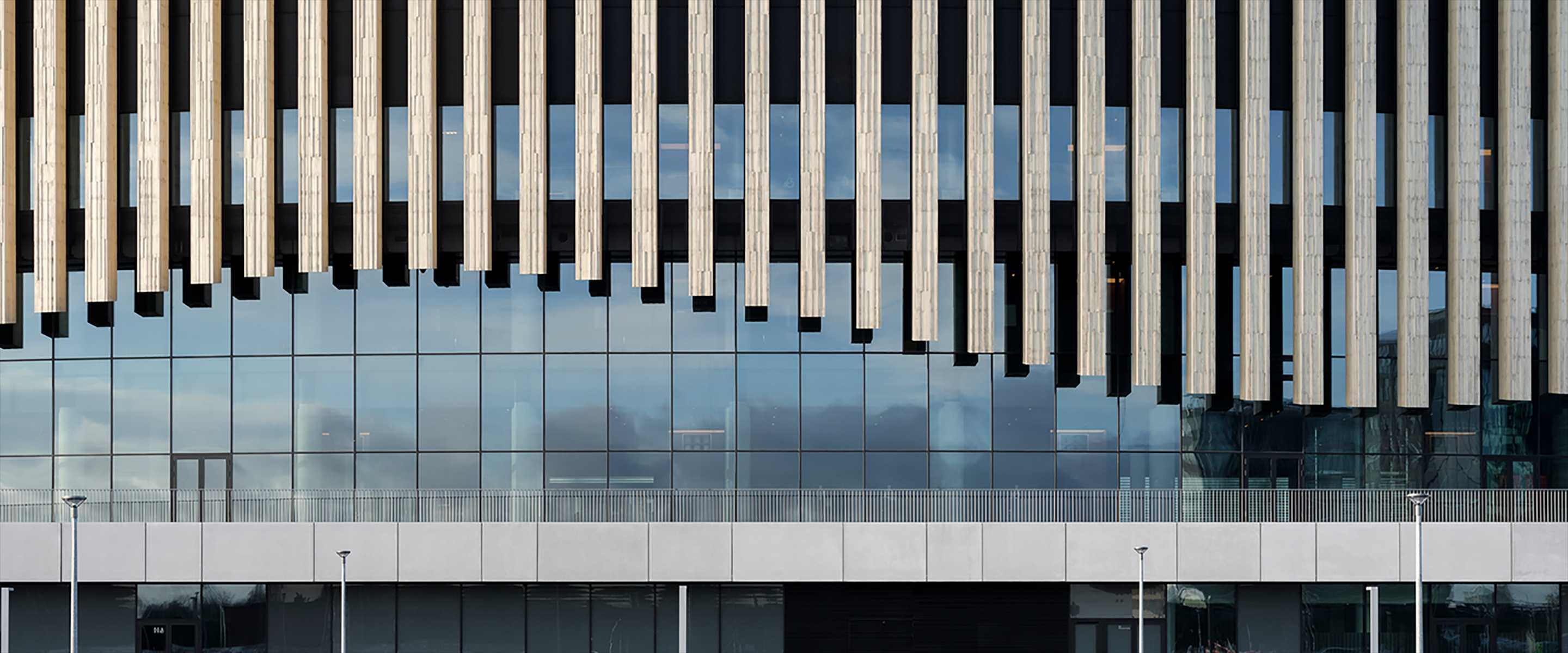 Close-up of a glass facade of a building with wooden beams coming from the top in a curved pattern