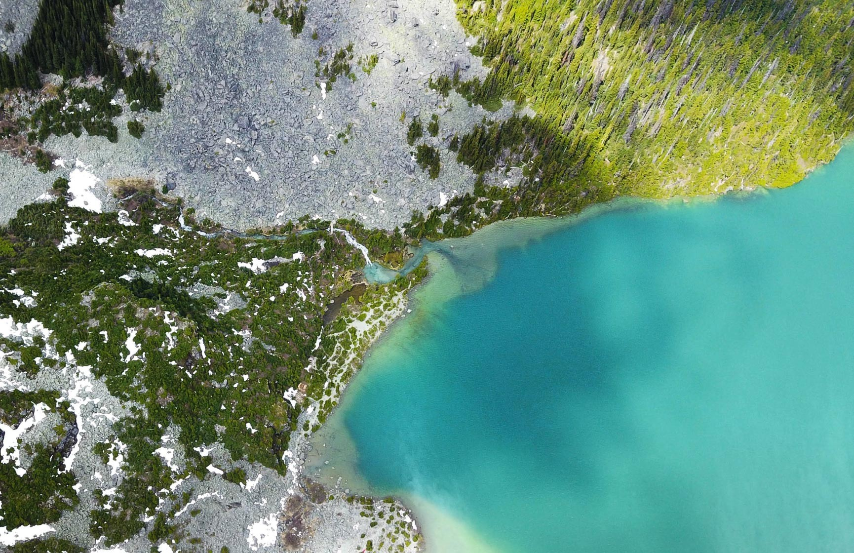 An aerial view of Joffre Lake in British Columbia