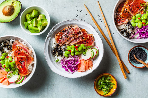 Seared Tuna Poke Bowls