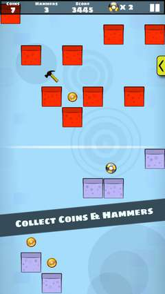 Collect coins and hammers.