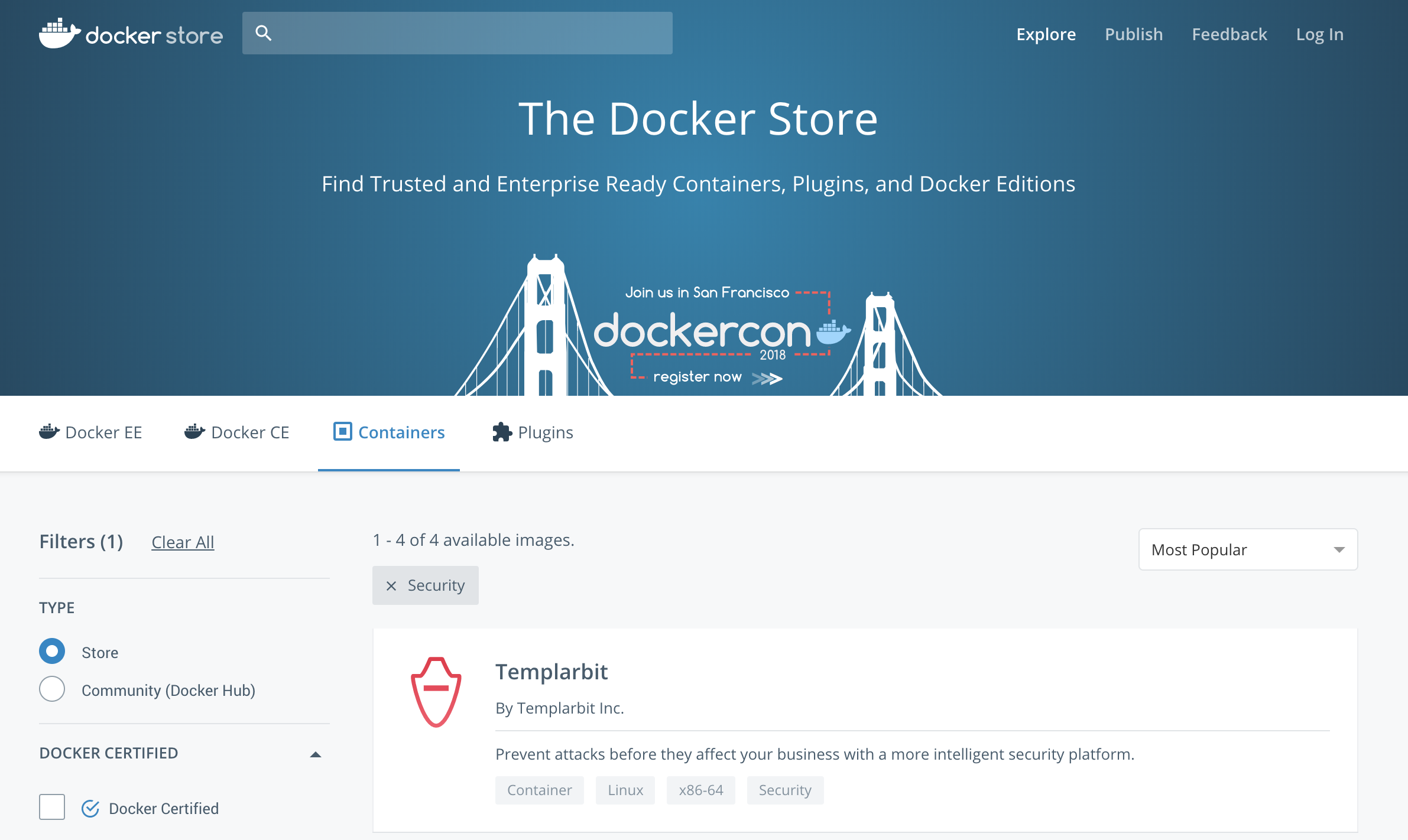 Where to find Templarbit in the Docker Store