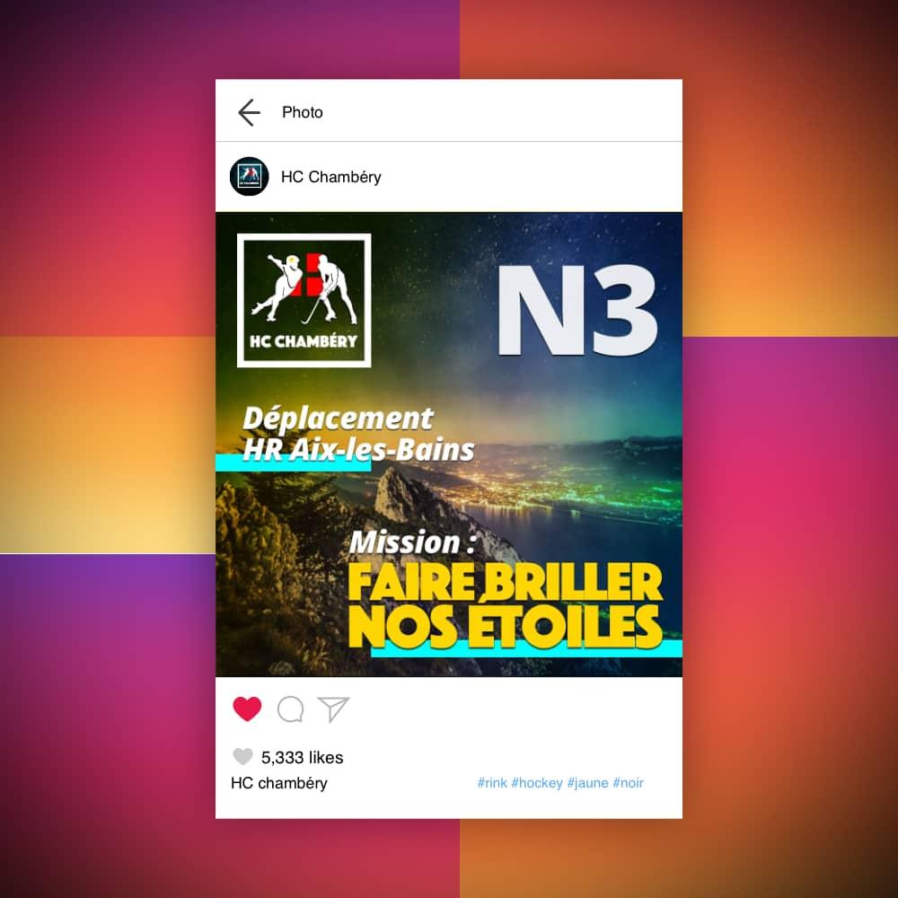 Capture d'écran d'un post Instagram du HC Chambéry