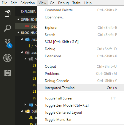 Integrated terminal shortcut on my machine