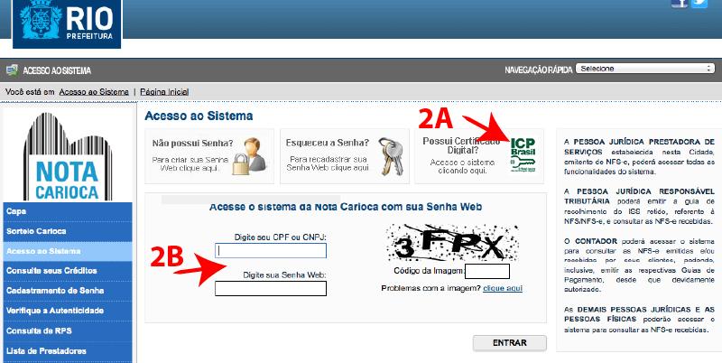 Passo 2 de como emitir nota fiscal carioca no simples nacional