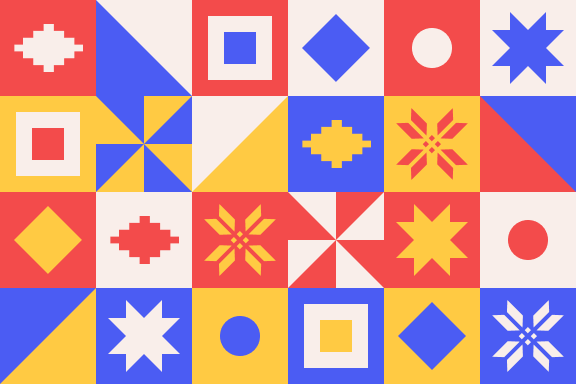 A very bright, geometric pattern of vector quilt-block shapes done up in red, yellow, and blue.