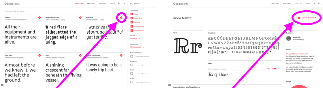 The position of the red plus button on the font specimen pages and home page