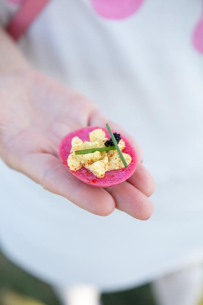 Vegan Pickled Beet Deviled Egg