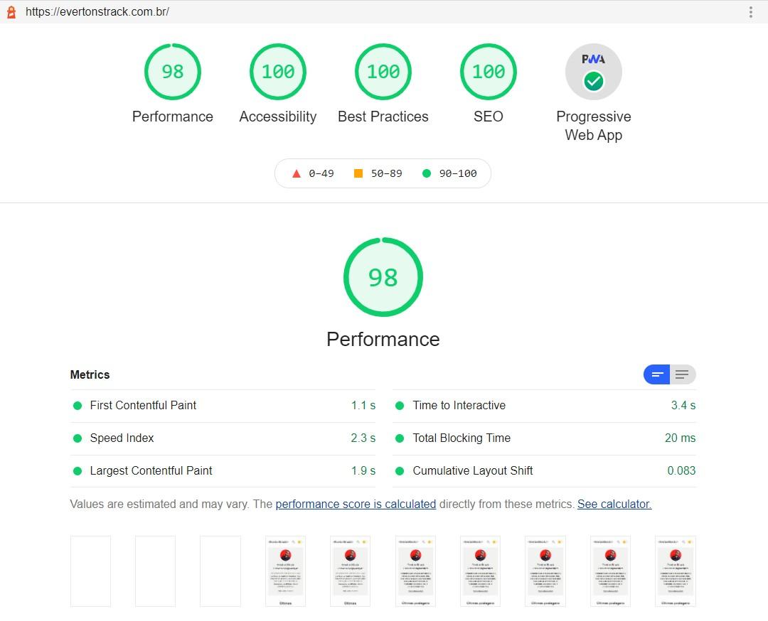 Resultado do relatório do Google Lighthouse para o site evertonstrack.com.br