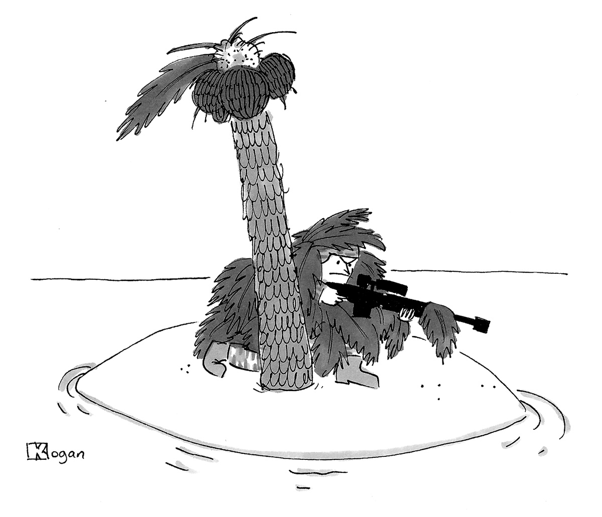 (A sniper uses leaves of a palm tree for camouflage on a desert island.)