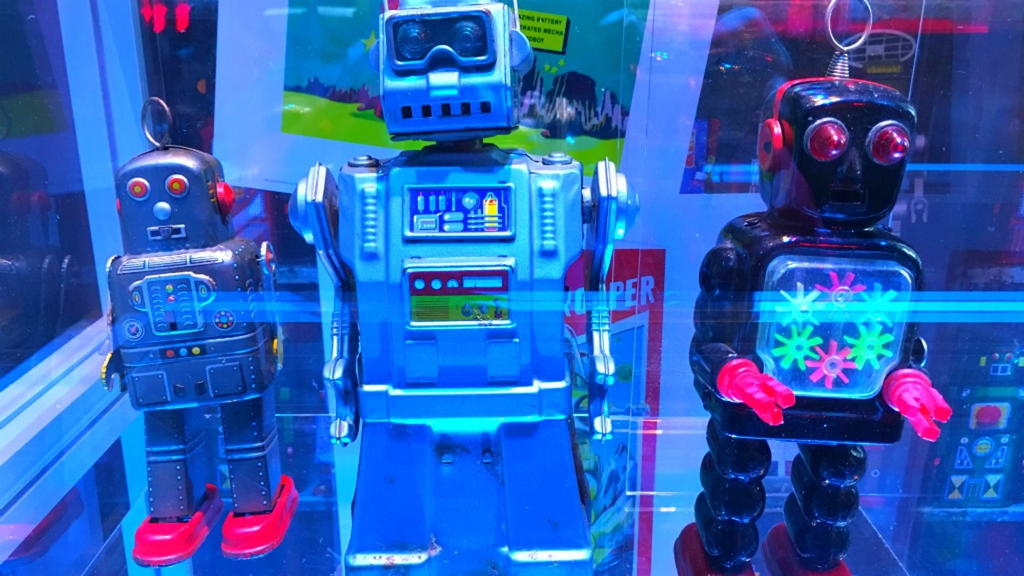 Toy robots on display at the Science Museum, London. Credit BBC Jat Gill