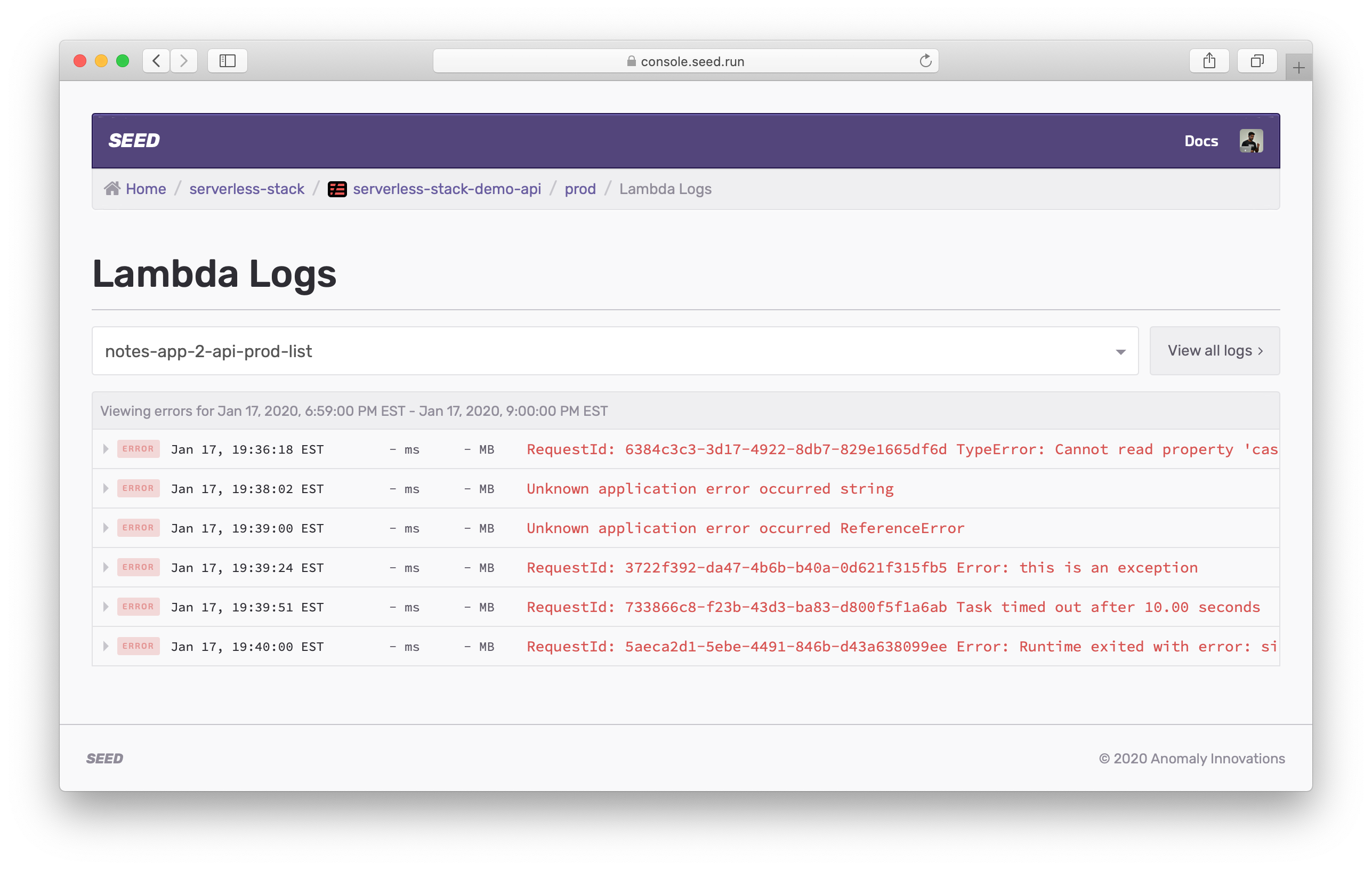 View Lambda errors logs