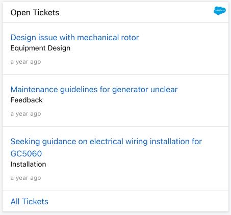 Open Salesforce tickets Card