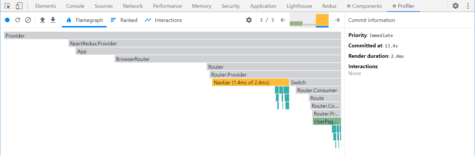 React DevTools Profiler render capture - <UserPage>