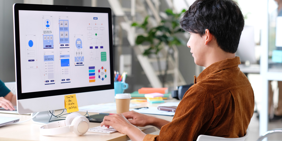 UX designer working on their portfolio.