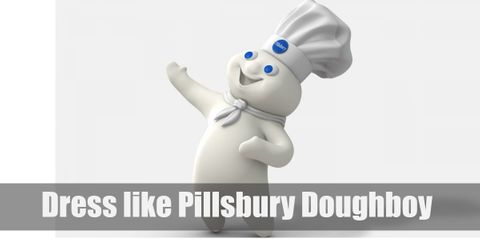Pillsbury Doughboy is still a perpetually white dough-like man who wears a white scarf and a white chef's hat