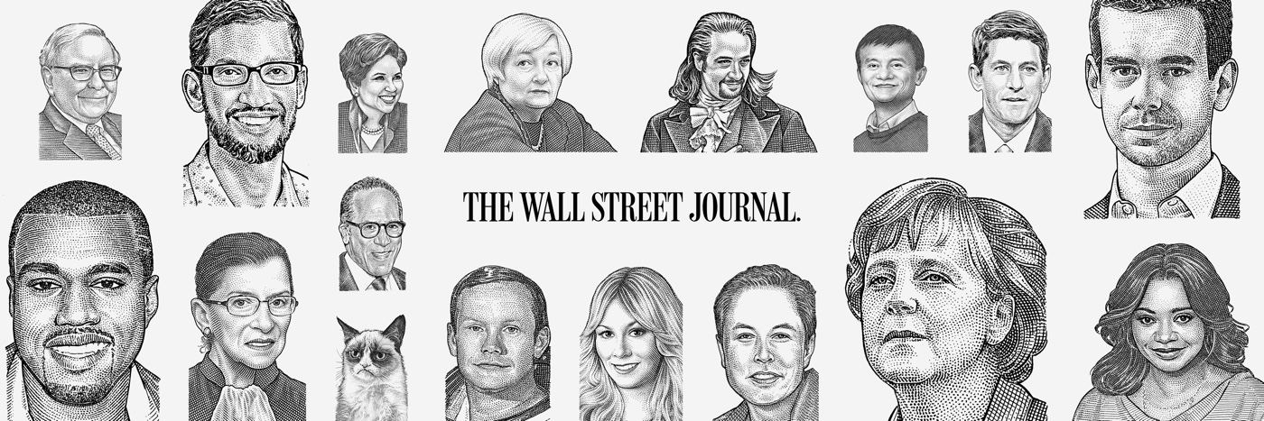 Banner featuring public figures illustrated in the iconic WSJ         stipple style. Used for Facebook and Twitter branding.