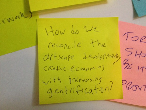 A post-it with one of the debate topics suggested at our interactive debate suggestion installation at The Next Stage Festival