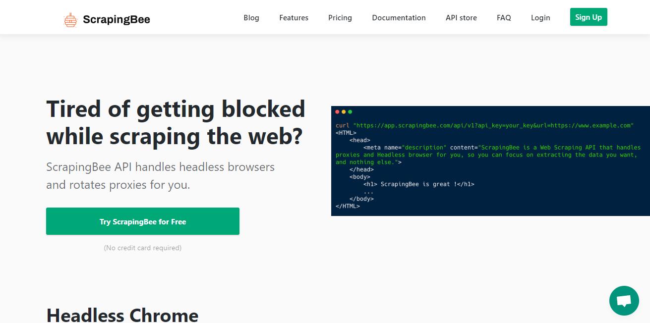 ScrapingBee homepage