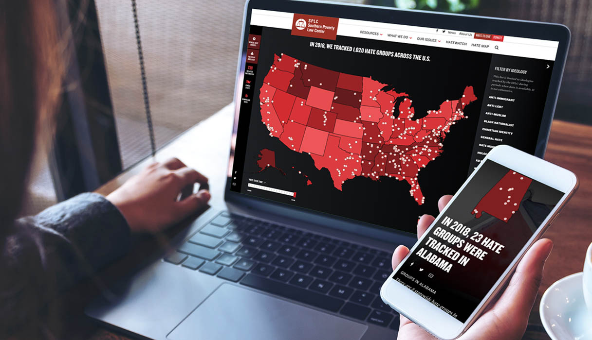 SPLC Hate Map on a laptop and a smartphone