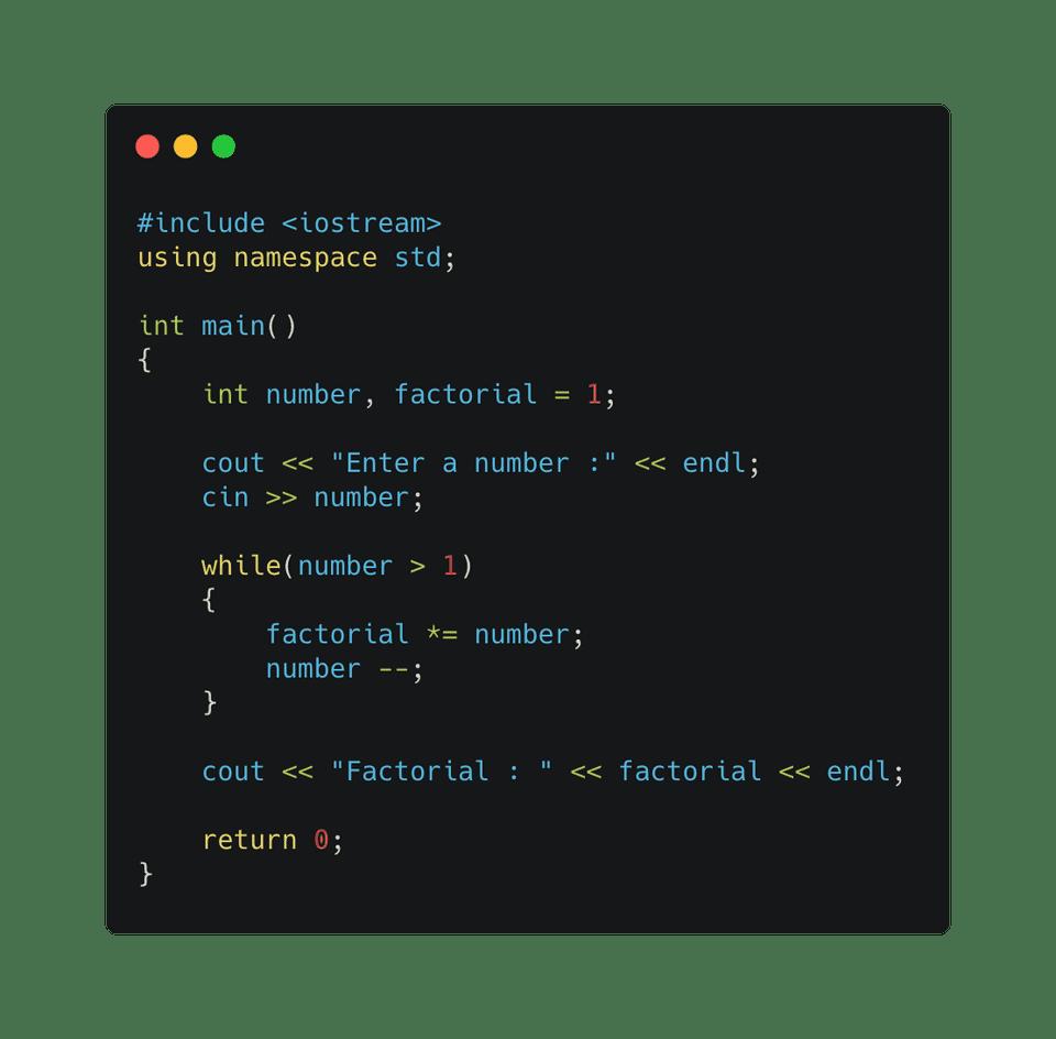 C++ factorial using while loop