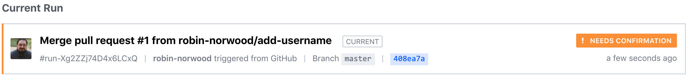 Run Triggered by Pull Request