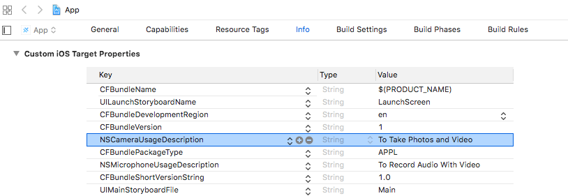 Xcode Custom iOS Target Properties