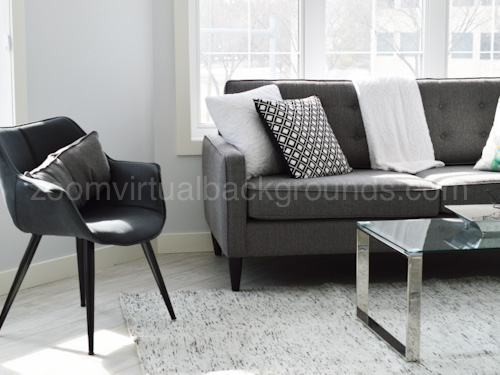 Home Study Virtual Background for Zoom with small chair, gray sofa and glass coffee table