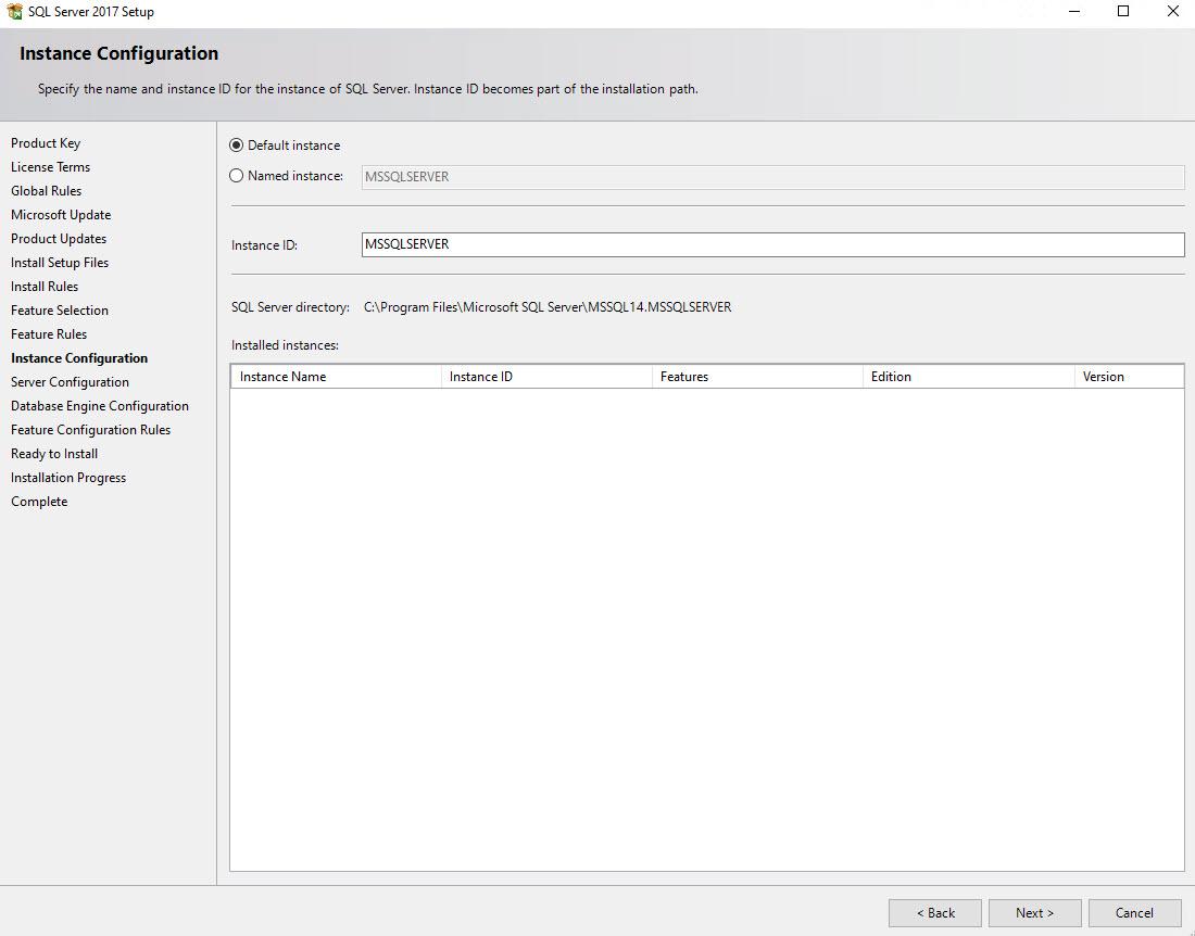 sql server 2017 default instance