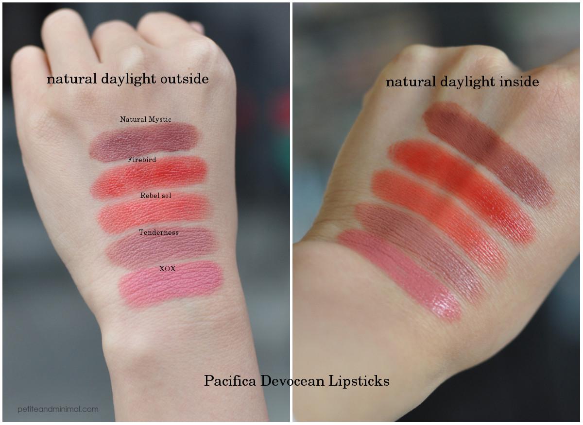 Pacifica Devocean Lipsticks Swatches