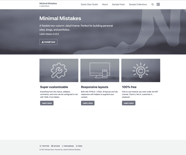 Minimal Mistakes, the most popular template on JamstackThemes
