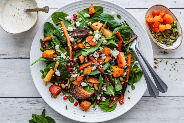 Moroccan Style Roasted Vegetable Salad With a Tahini Dressing