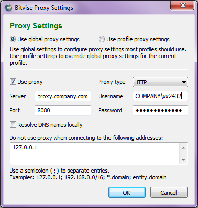 Tunnelier proxy settings