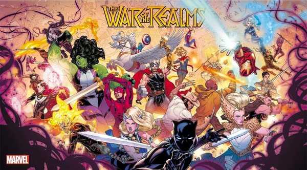poster da marvel comics com a guerra dos reinos