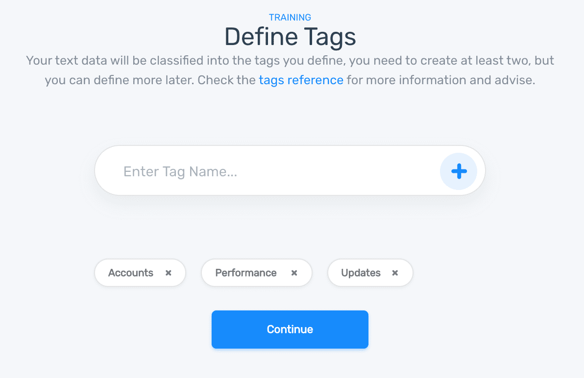 Tags entered into a text field, and added to a classifier for training