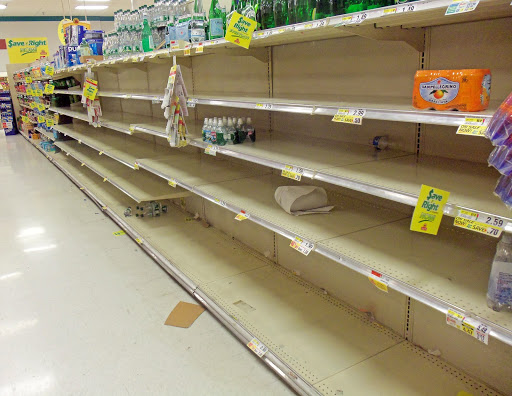 Empty grocery shelves from customers preparing for Dorian