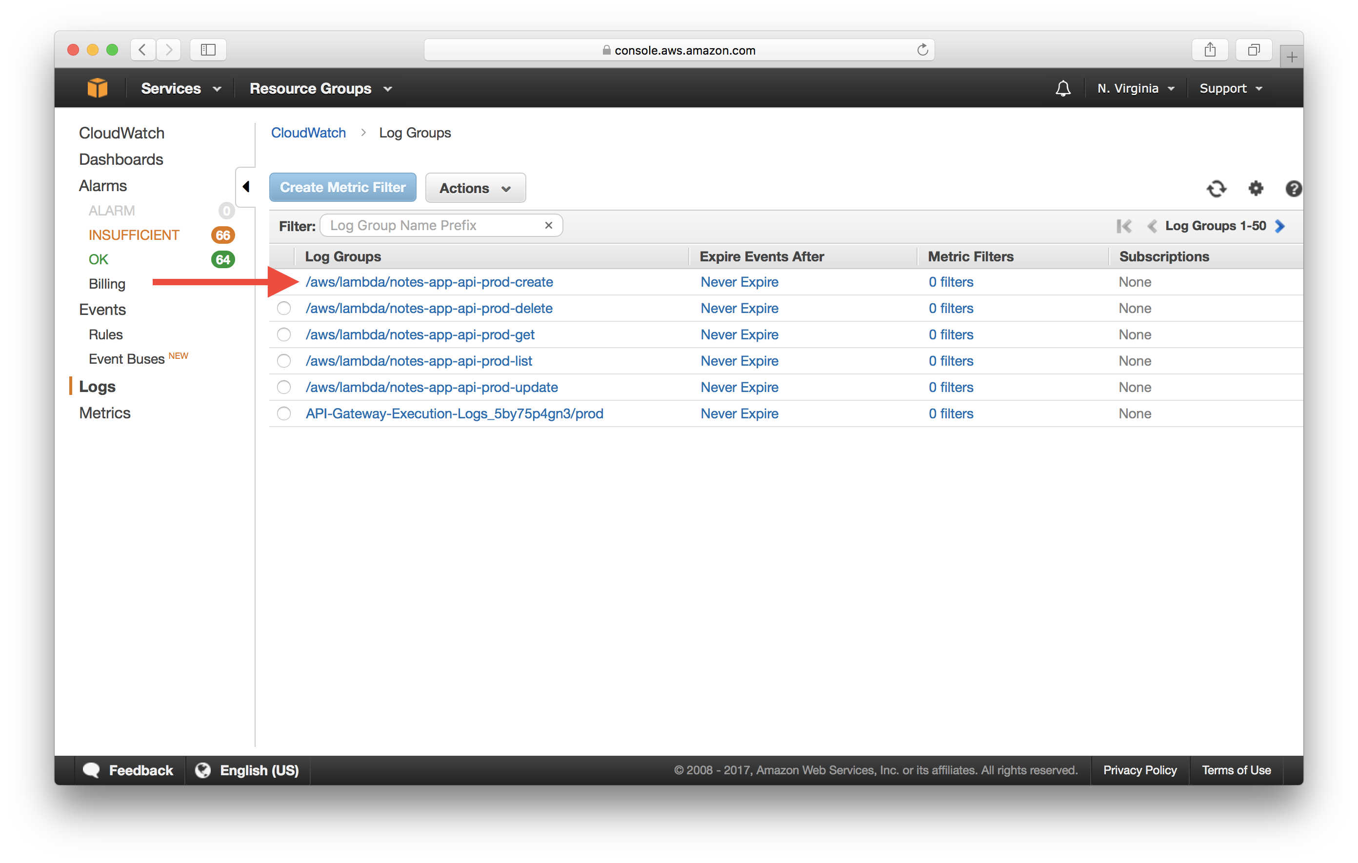 Select CloudWatch Lambda Log Group Screenshot
