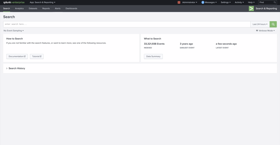 The search page on Splunk.