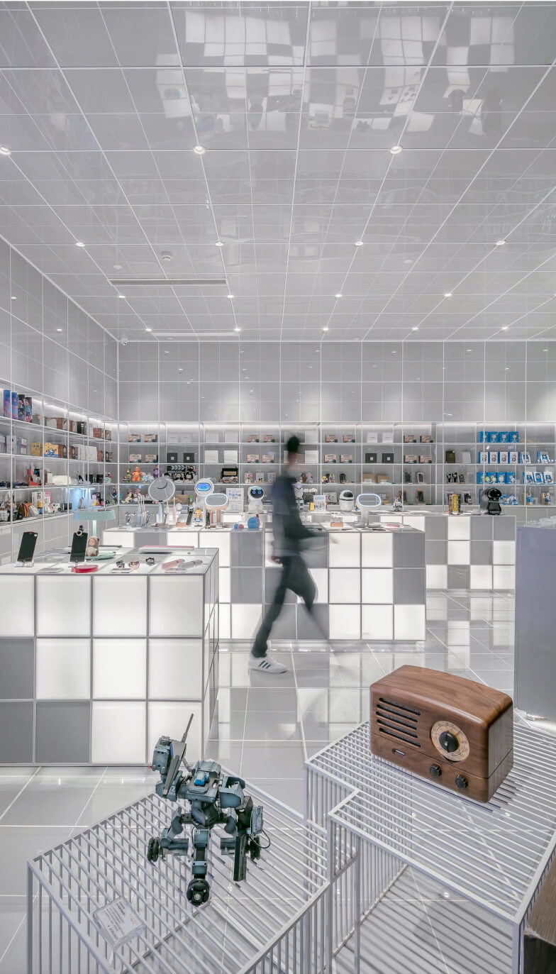 Image of a store with a person walking