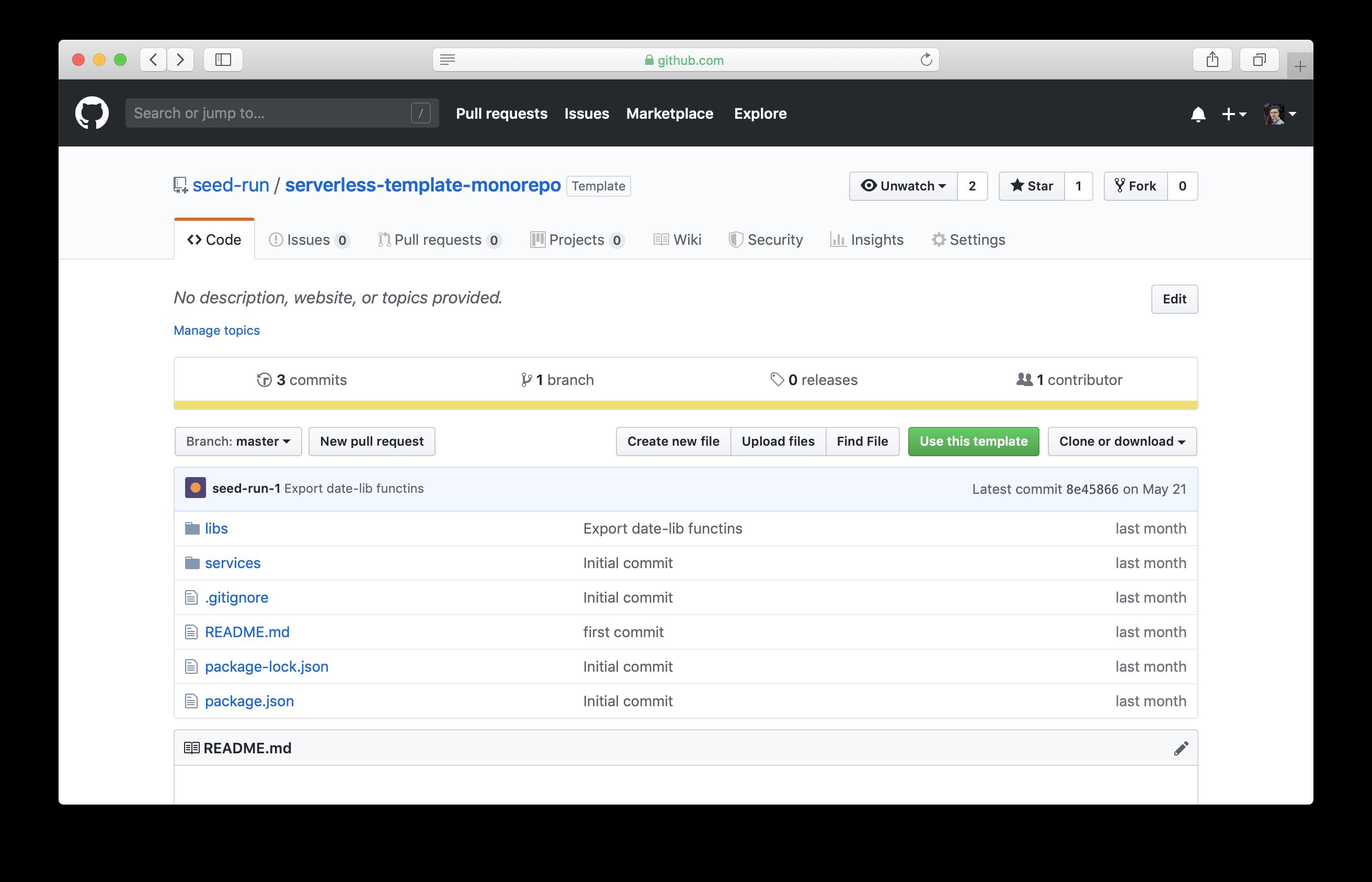 Use Seed monorepo Serverless GitHub template