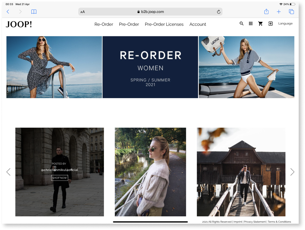 B2B Webshop for pre- and reordering