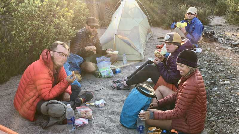 Dinner at Swarthout Canyon campsite