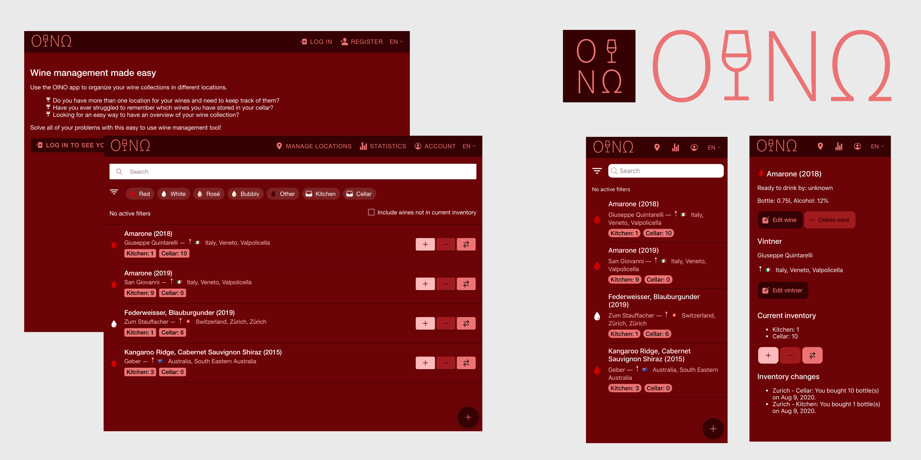 OINO banner with various screenshots of the OINO web app