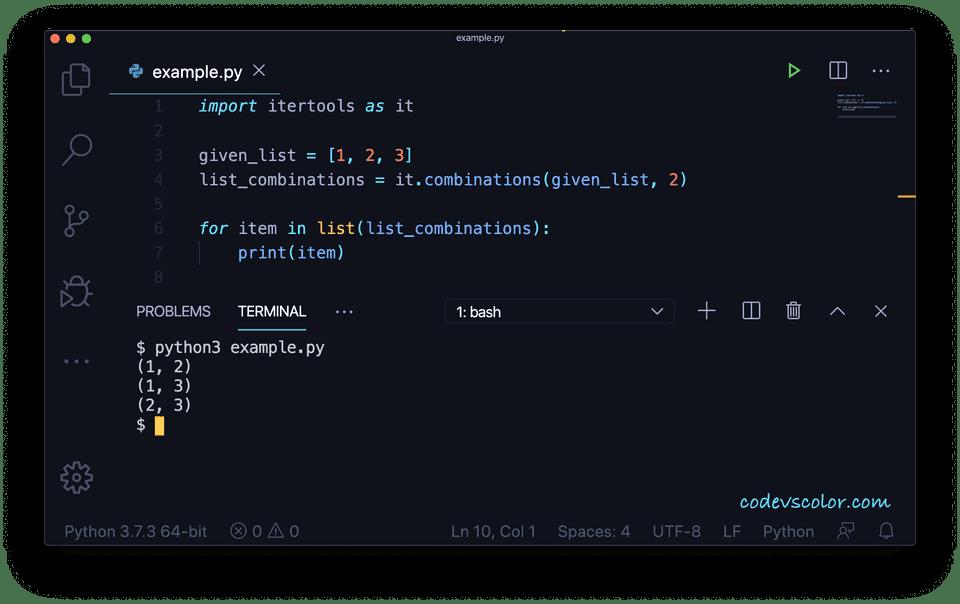 Python list combinations