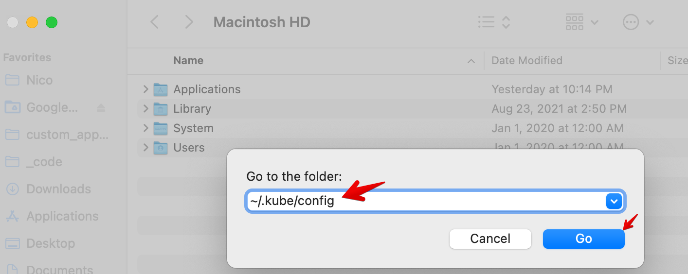 Path To Local Kubeconfig File