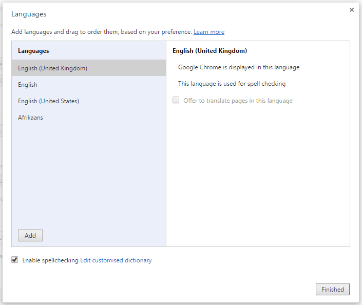 google chrome language settings