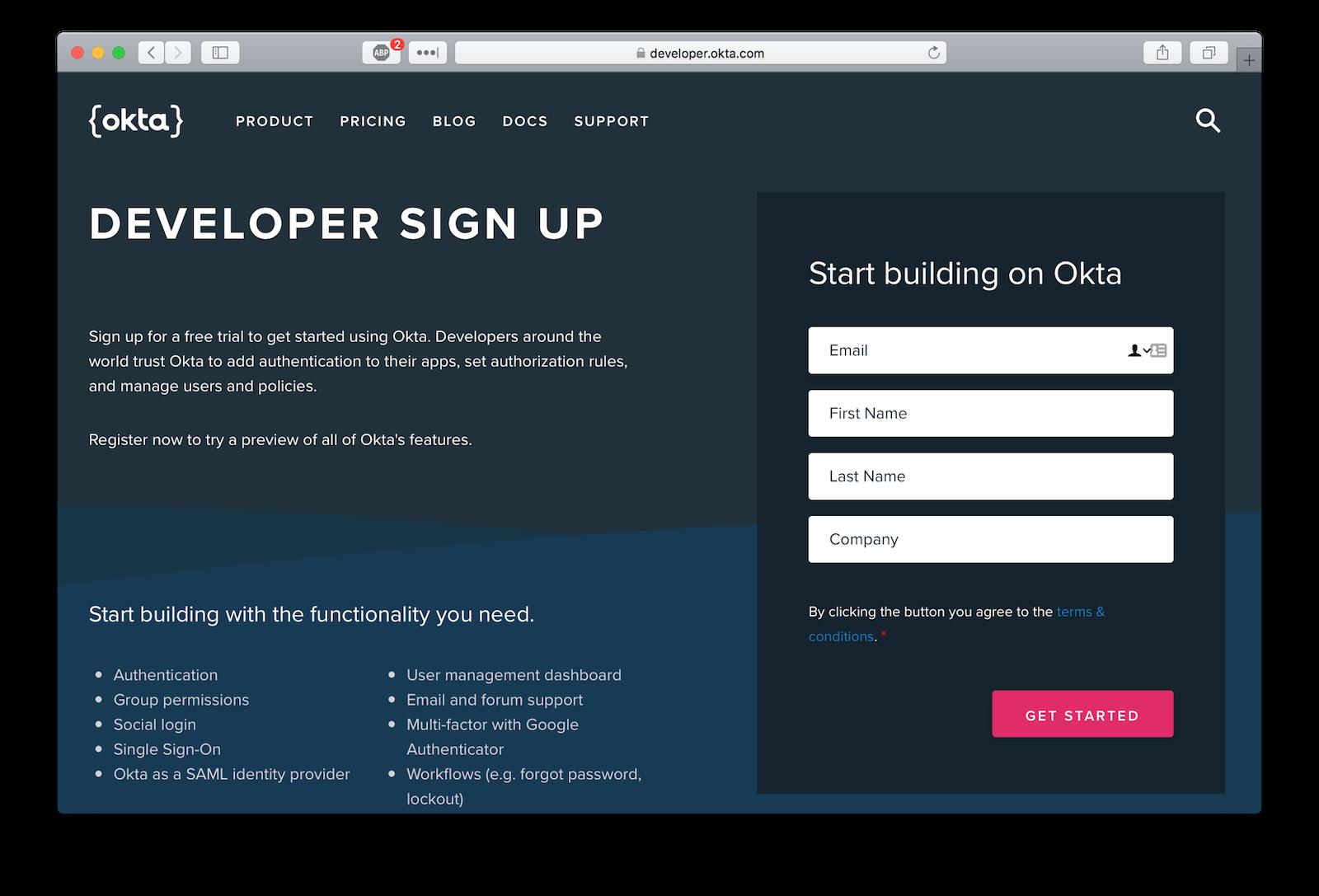 Okta sign-up page