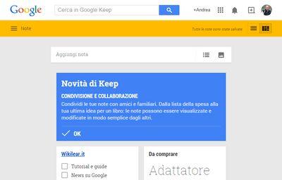Google Keep aperto dalla pagina web